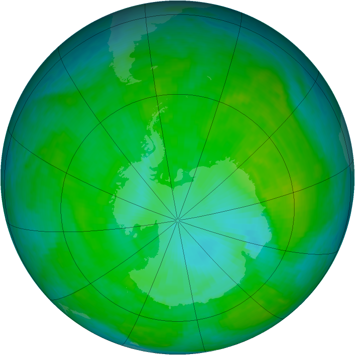 Antarctic ozone map for 03 January 1990