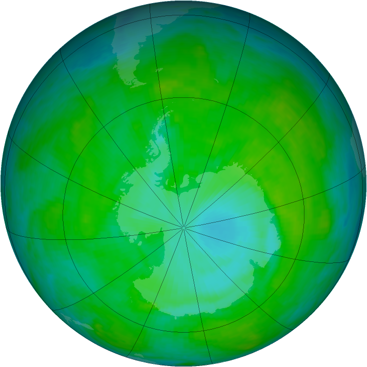 Antarctic ozone map for 04 January 1990