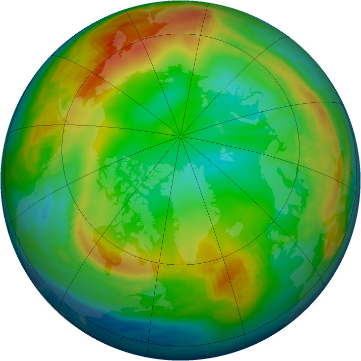 Arctic ozone map for 05 January 1990