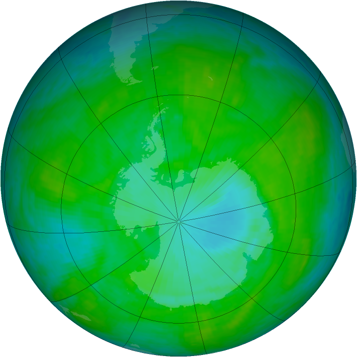 Antarctic ozone map for 05 January 1990