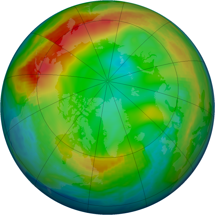 Arctic ozone map for 08 January 1990