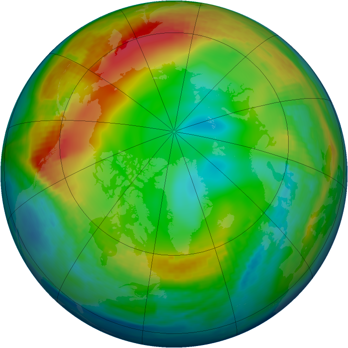 Arctic ozone map for 09 January 1990