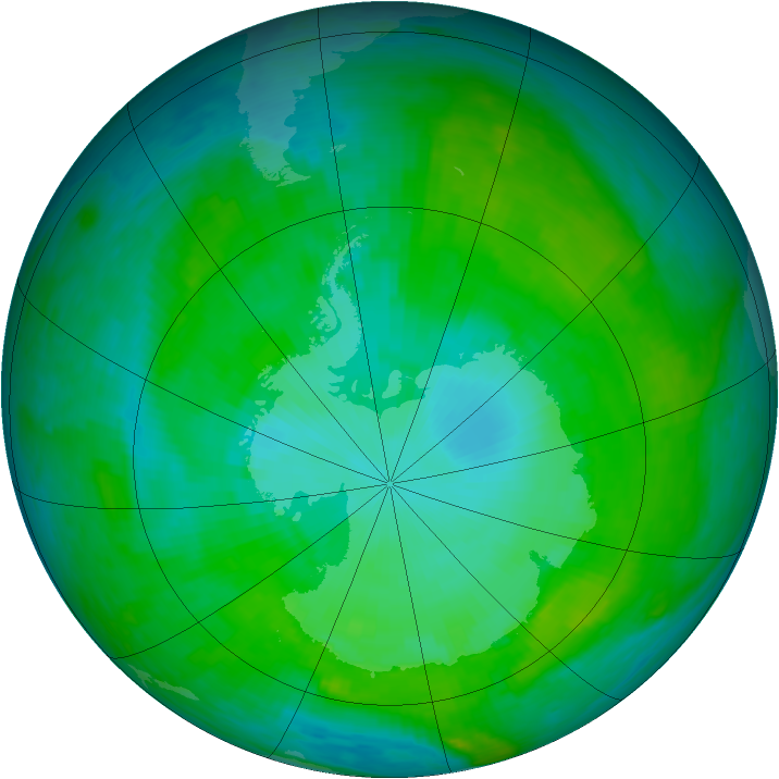 Antarctic ozone map for 09 January 1990