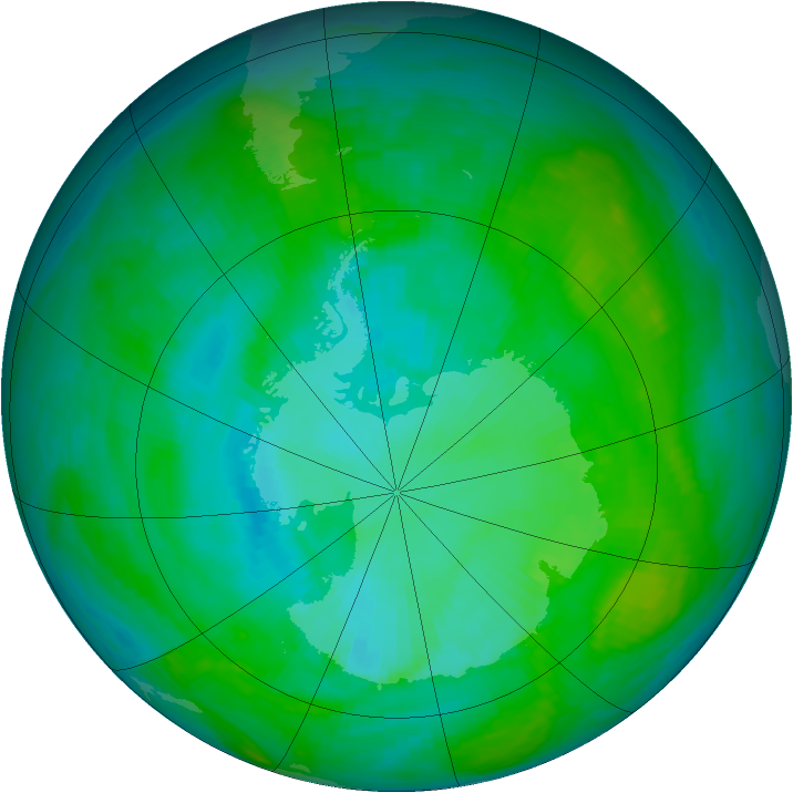 Antarctic ozone map for 16 January 1990
