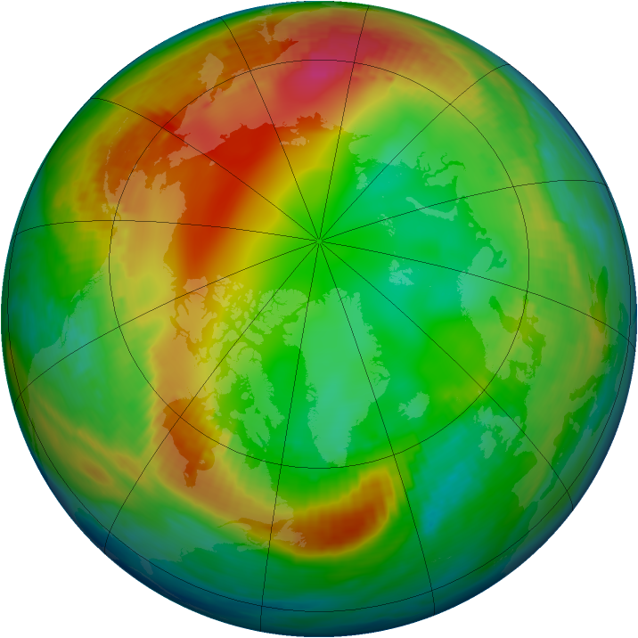 Arctic ozone map for 20 January 1990