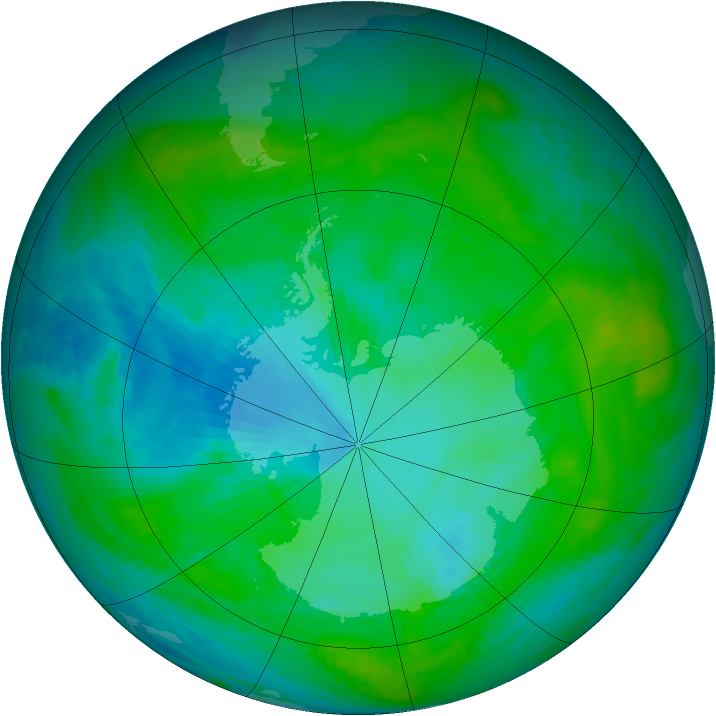 Antarctic ozone map for 26 January 1990