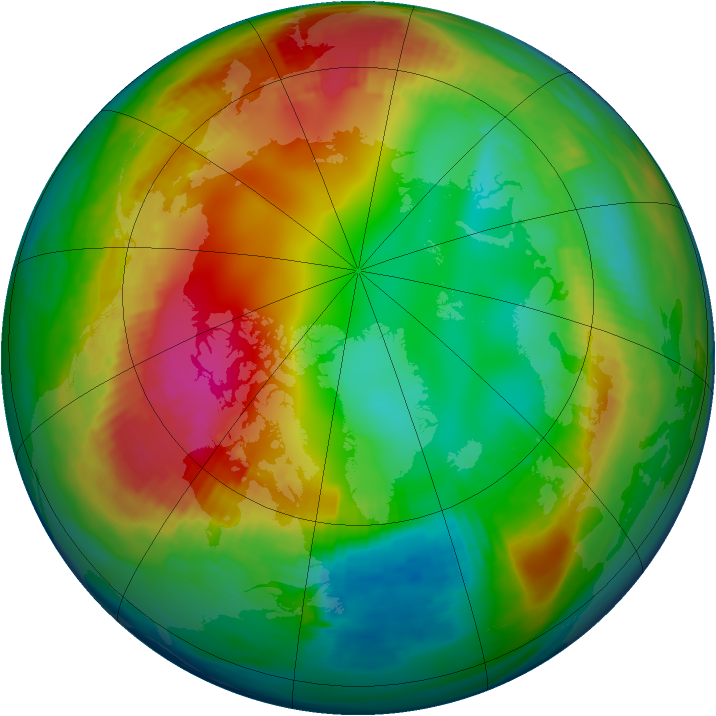 Arctic ozone map for 27 January 1990