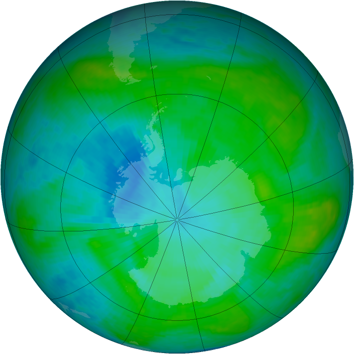 Antarctic ozone map for 28 January 1990
