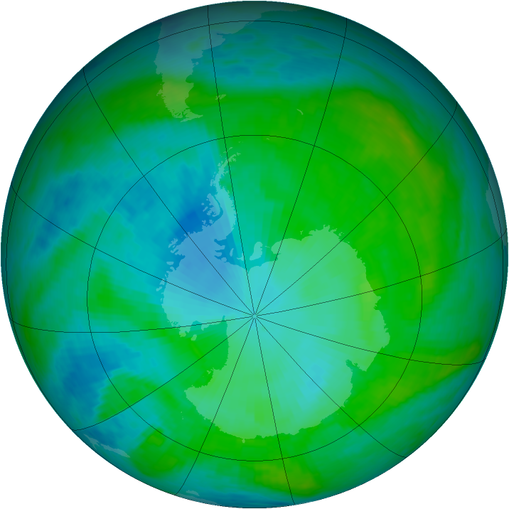 Antarctic ozone map for 29 January 1990