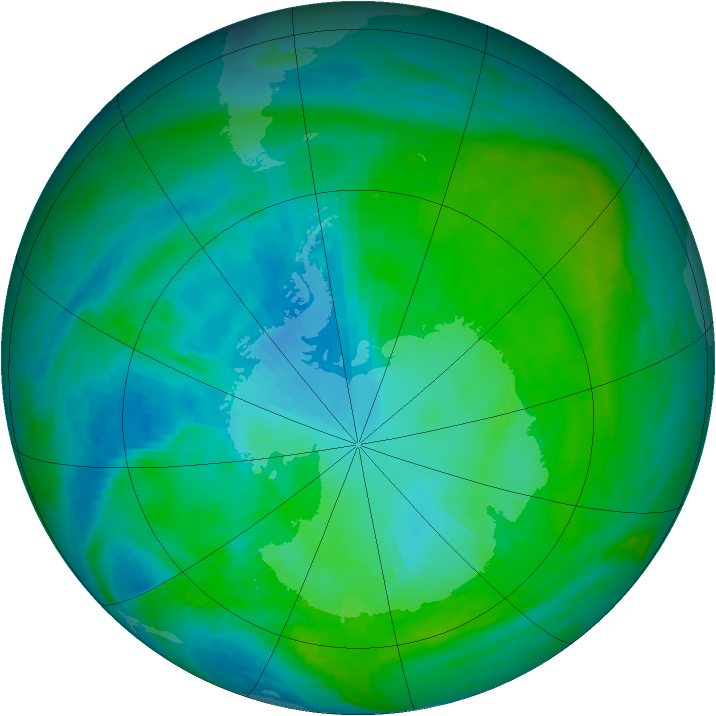 Antarctic ozone map for 30 January 1990