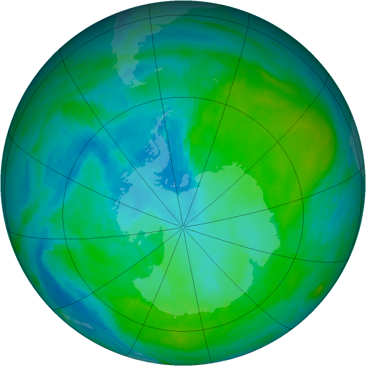 Antarctic ozone map for 31 January 1990