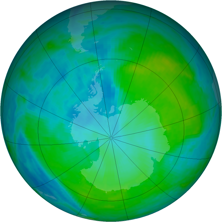Antarctic ozone map for 01 February 1990