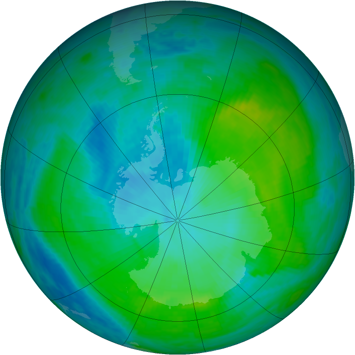 Antarctic ozone map for 02 February 1990