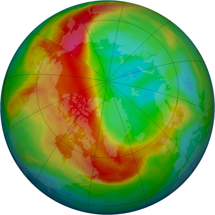 Arctic ozone map for 03 February 1990