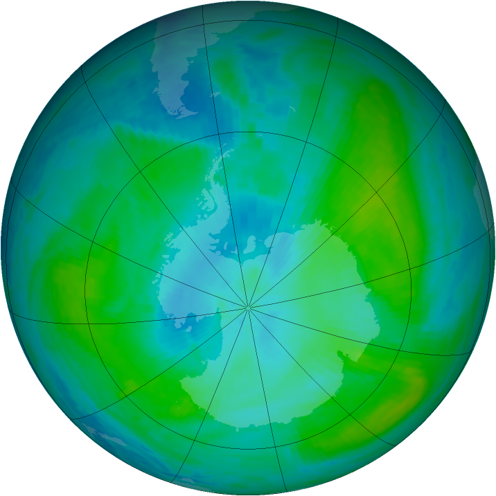 Antarctic ozone map for 06 February 1990