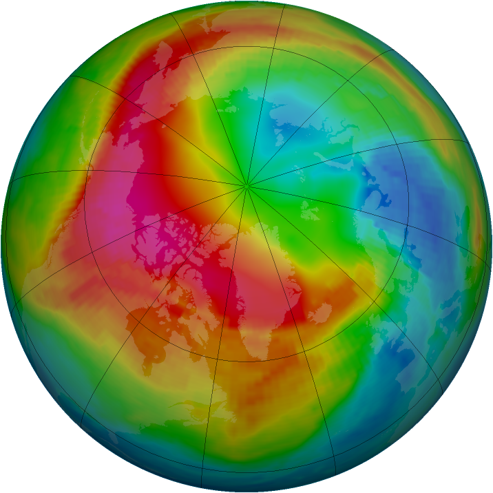 Arctic ozone map for 07 February 1990
