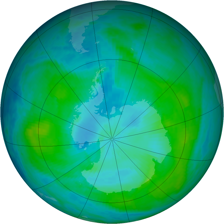 Antarctic ozone map for 08 February 1990