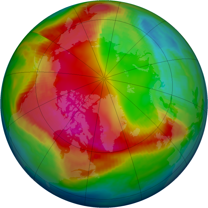 Arctic ozone map for 12 February 1990