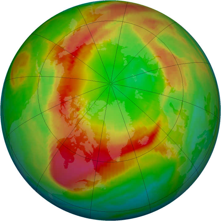 Arctic ozone map for 25 February 1990