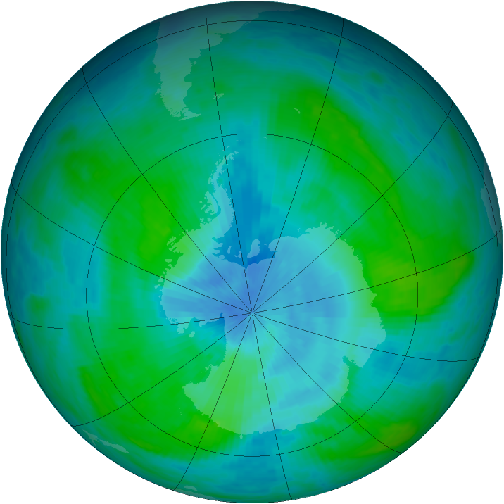 Antarctic ozone map for 25 February 1990