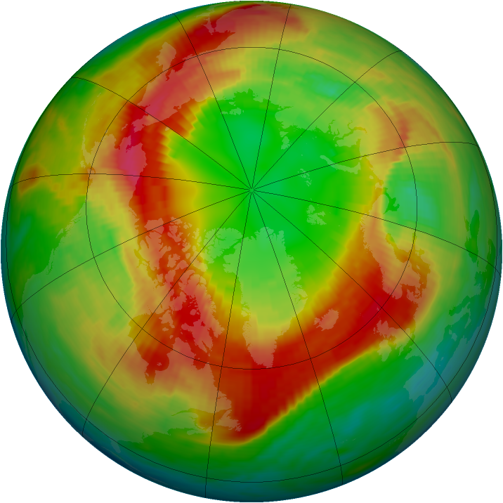 Arctic ozone map for 27 February 1990