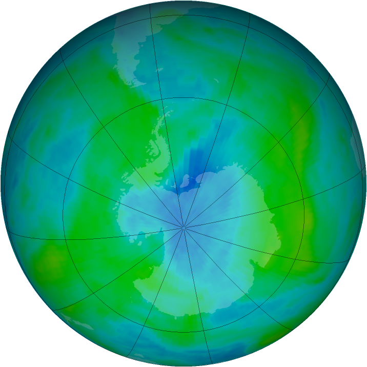 Antarctic ozone map for 27 February 1990