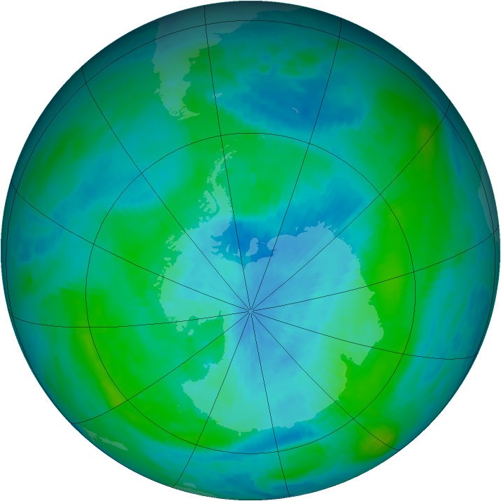 Antarctic ozone map for 01 March 1990
