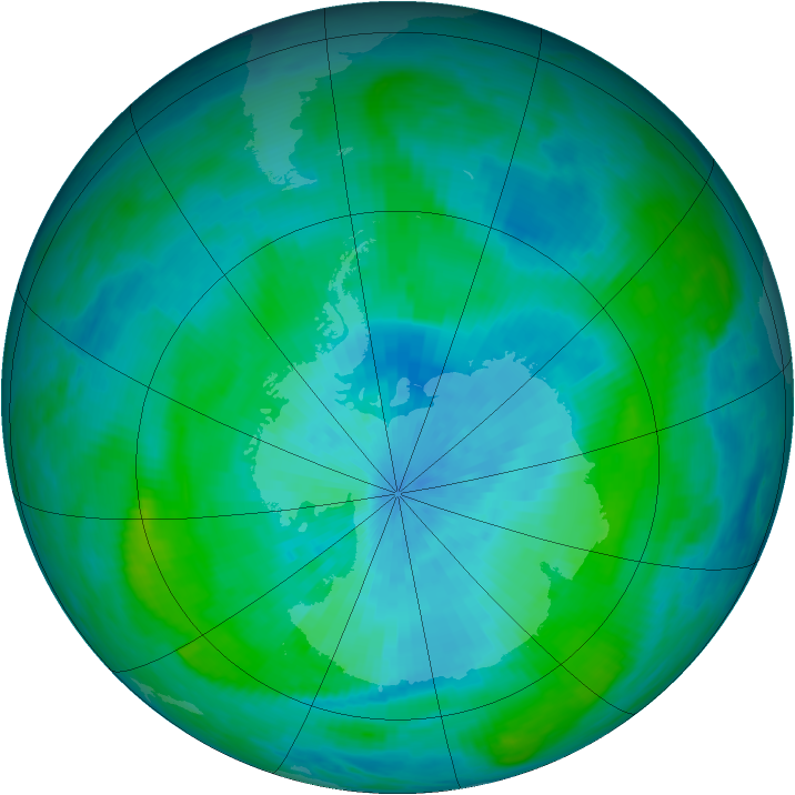 Antarctic ozone map for 02 March 1990