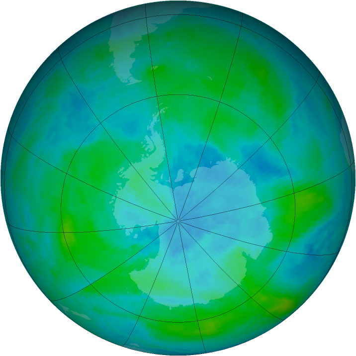 Antarctic ozone map for 04 March 1990