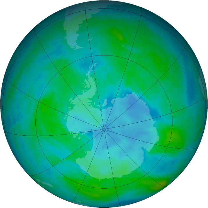 Antarctic ozone map for 05 March 1990
