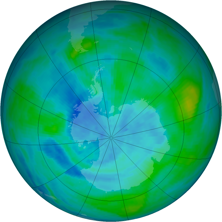 Antarctic ozone map for 13 March 1990
