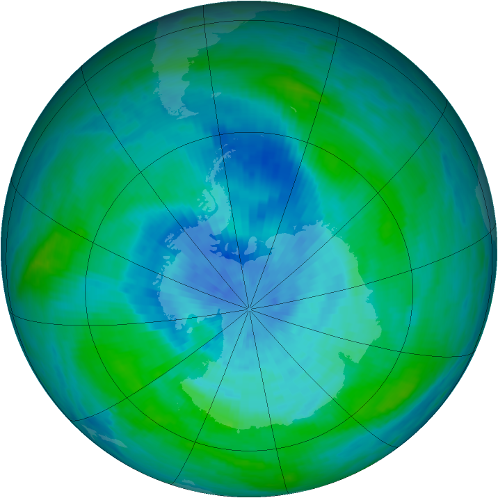 Antarctic ozone map for 16 March 1990