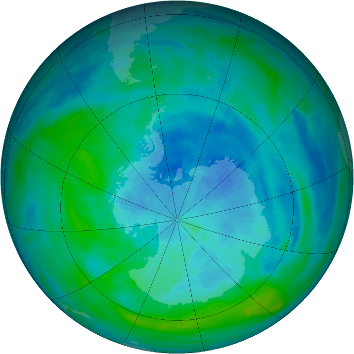 Antarctic ozone map for 20 March 1990