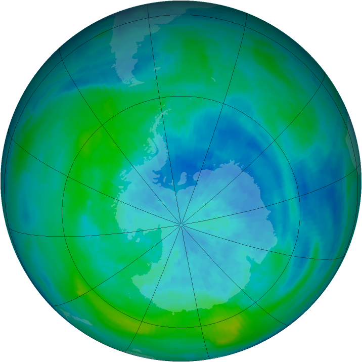 Antarctic ozone map for 21 March 1990