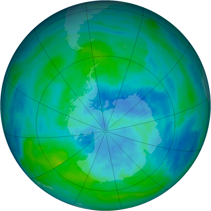 Antarctic ozone map for 23 March 1990