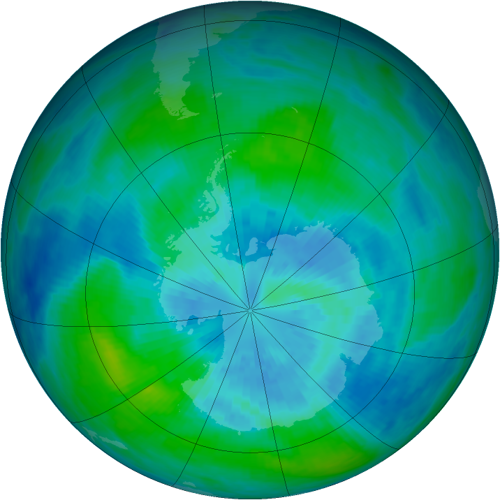 Antarctic ozone map for 24 March 1990