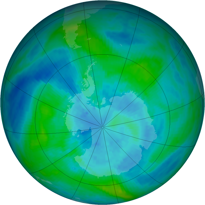 Antarctic ozone map for 25 March 1990