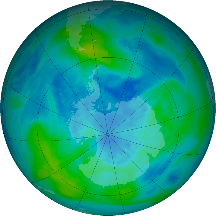 Antarctic ozone map for 30 March 1990