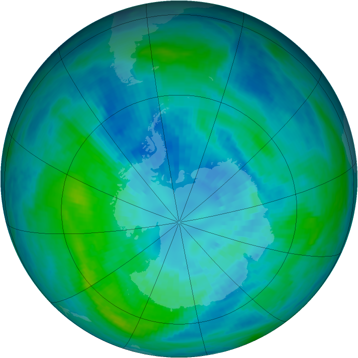 Antarctic ozone map for 01 April 1990