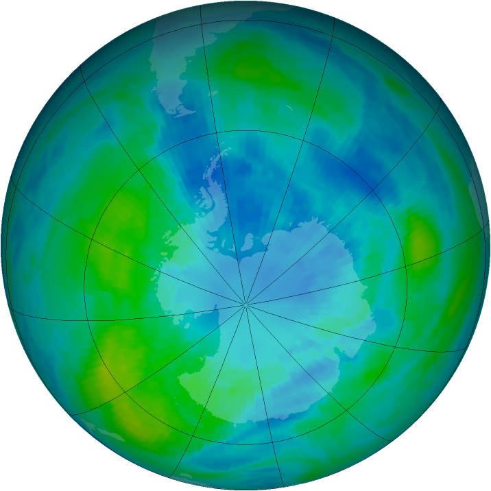 Antarctic ozone map for 02 April 1990