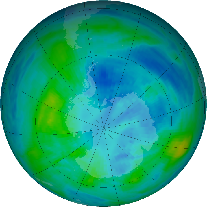 Antarctic ozone map for 04 April 1990