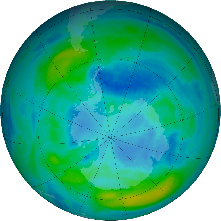 Antarctic ozone map for 07 April 1990