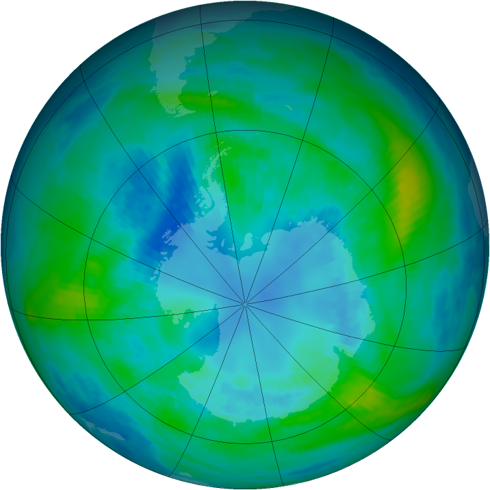 Antarctic ozone map for 15 April 1990