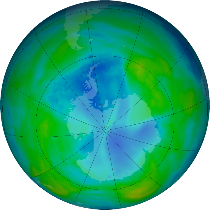 Antarctic ozone map for 03 May 1990