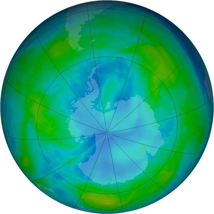 Antarctic ozone map for 05 May 1990
