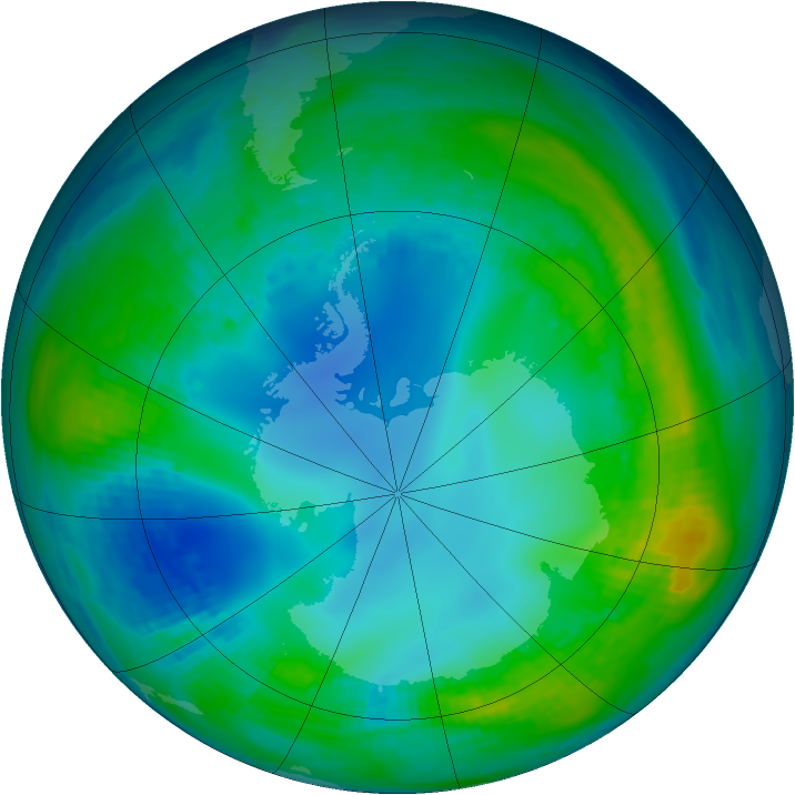 Antarctic ozone map for 14 May 1990