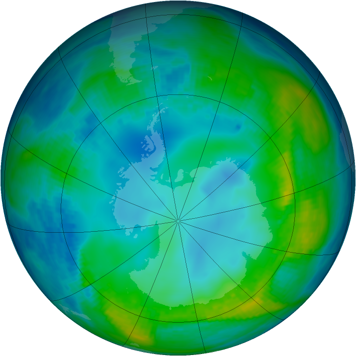 Antarctic ozone map for 19 May 1990