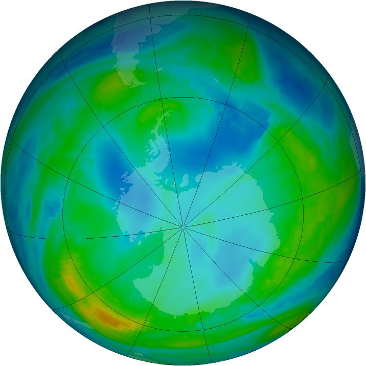Antarctic ozone map for 23 May 1990