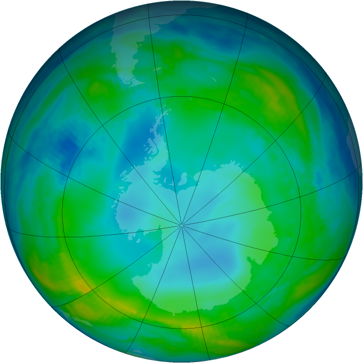 Antarctic ozone map for 27 May 1990