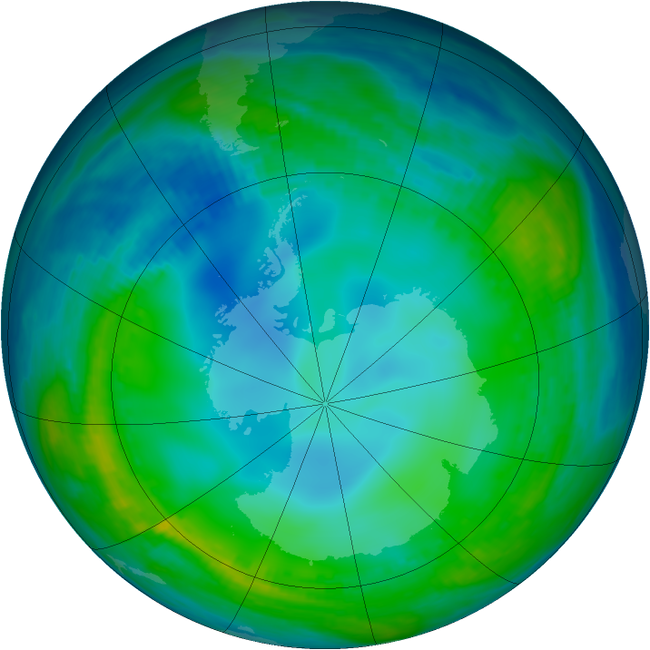 Antarctic ozone map for 28 May 1990